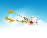 Dardos del asunto Se nubla meta Flecha de oro - dólar ilustración del vector