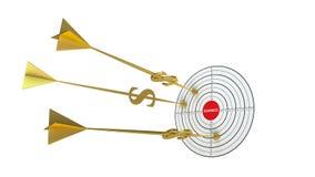 Dardos del asunto Se nubla meta Flecha de oro - dólar stock de ilustración