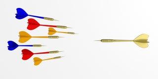 dardos del vuelo de la representación 3d en el fondo blanco ilustración del vector