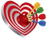 Dardos en el ejemplo de la diana de la dimensión de una variable del corazón libre illustration