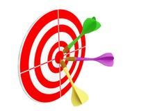 Dardos que caen en dartboard stock de ilustración