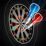 Dardos rojos y azules en diana Logotipo del deporte para cualquier juego o campeonato de los dardos libre illustration