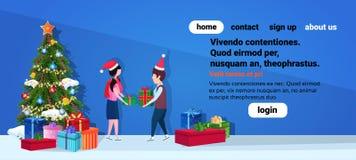 Dare delle coppie della ragazza del ragazzo si presenta il concetto di Buon Natale del buon anno personaggio dei cartoni animati  illustrazione vettoriale