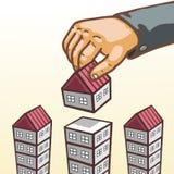 Dare delle mani di concetto del bene immobile aggiunge il pavimento alla costruzione Immagini Stock