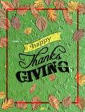 Dare felice di ringraziamenti scritto su calcestruzzo verde con vari va Fotografia Stock