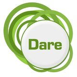 Dare Random Green Rings. Dare text written over green background Royalty Free Stock Photos