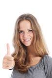 Dare sorridente dell'allievo pollici in su Fotografia Stock Libera da Diritti