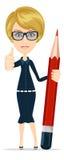 Dare sorridente della donna di affari o dell'insegnante del fumetto Fotografie Stock Libere da Diritti