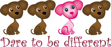 Dare to be Different. Pink dog among cute chocolate puppies Royalty Free Stock Photography