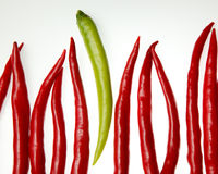 Dare to be different. Green chili sticking out from a line of red chilies Stock Photo