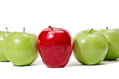 Dare To Be Different. Concept of being different or standing out.  Big bright red apple standing in the middle of a row of green apples.  A concept for standing Stock Photos