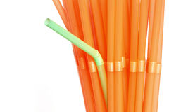 Dare To be different. Green straw among orange ones with copy space for text Royalty Free Stock Photo