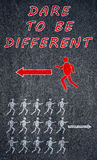 Dare to be different concept on a blackboard Stock Photos