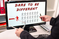 Dare to be different concept on a computer monitor Royalty Free Stock Photo