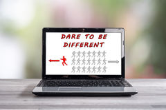 Dare to be different concept on a laptop screen Royalty Free Stock Photos