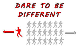 Dare to be different concept on white background Stock Photo