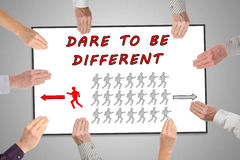 Dare to be different concept on a whiteboard Stock Image