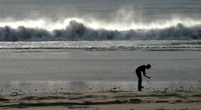 Dare to Dream. A man does some beachcombing while powerful waves roll in behind him Stock Image