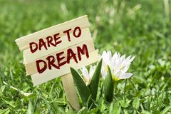 Dare to dream. On wooden sign in garden with spring flower Royalty Free Stock Photos
