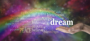 Dare to Dream word cloud. Male hand outstretched palm up with a rainbow emerging from his hand and the word DREAM floating above surrounded by a relevant word stock image