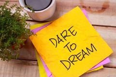 Dare to Dream. Words Typography Concept royalty free stock photos