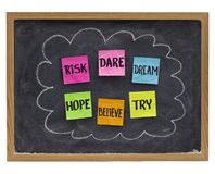 Dare to try - motivational concept stock image