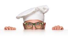 Dare una occhiata divertente del cuoco unico fotografia stock