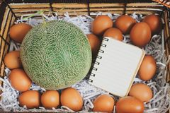 Basket to put the cantaloupe and eggs on special days. Dares to put the cantaloupe and eggs on special days royalty free stock photos
