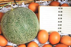 Basket to put the cantaloupe and eggs on special days. Dares to put the cantaloupe and eggs on special days royalty free stock image