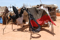 Darfur Shelters. August 17, 2004 - Typical shelters in the Riyad displaced camp in East Darfur, Sudan, where most who fled fighting had few if any possessions Royalty Free Stock Photos