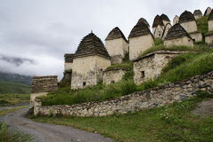 Dargavs. A city of the dead. The North Ossetia Alania. Historic Middle Ages Crypt town Stock Images