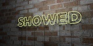 DARGESTELLT - Glühende Leuchtreklame auf Steinmetzarbeitwand - 3D übertrug freie Illustration der Abgabe auf Lager Stock Abbildung