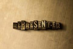 DARGESTELLT - Nahaufnahme der grungy Weinlese setzte Wort auf Metallhintergrund Lizenzfreie Abbildung