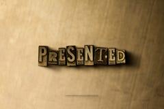DARGESTELLT - Nahaufnahme der grungy Weinlese setzte Wort auf Metallhintergrund Stock Abbildung