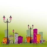 Dargestellte abstrakte Stadt Stockfoto