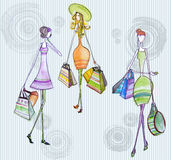 Dargestellte kaufenfrauen Lizenzfreies Stockfoto