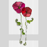 Dargestellte nette Blumen Lizenzfreies Stockfoto