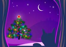 Dargestellter Weihnachtsbaum und Katze Lizenzfreies Stockbild
