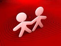 Dargestelltes Paar-Tanzen über einem roten Hintergrund Stockfotos