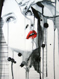 Dargestelltes Portrait des schönen Mädchens Stockfoto