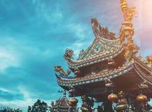 Dargon statue on Shrine roof ,dragon statue on chin Stock Image