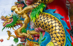 Dargon statue on Shrine roof ,dragon statue on chin. A temple roof as asian art stock image