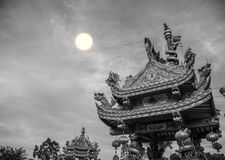 Dargon statue on Shrine roof ,dragon statue on china temple roof as asian art.  stock photos
