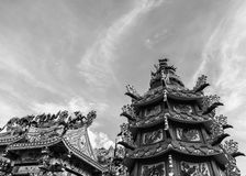 Dargon statue on Shrine roof ,dragon statue on china temple roof as asian art.  stock photo