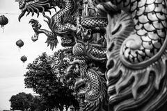 Dargon statue on Shrine roof ,dragon statue on china temple roof as asian art.  royalty free stock photography