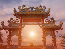 Dargon statue on Shrine roof ,dragon statue on china temple roof as asian art.  stock image