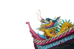 Dargon statue on Shrine roof on white background. Dragon statue on china temple roof as asian art stock photography