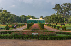 Daria Daulat Bagh of Tipu Sultan, Mysore, India. Mysore, India - October 26, 2013: Grounds and green and red park of Tipu Sultan Summer Palace, named Daria Stock Photos
