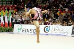 Daria Dmitrieva RHYTHMIC GYMNASTIC. Desio (MI), Italy, 1st December 2012 - Serie A1: The athlete in the photo is DARIA DMITRIEVA, performing with clubs, for the stock photo