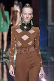 Daria Strokous walks the runway during the Balmain show Stock Image